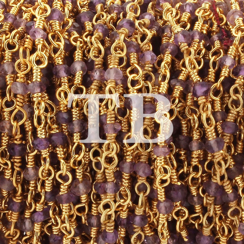 5 Feet Amethyst Hydro Coated Quartz 2mm 24K Gold Plated Wire Wrapped Rosary Style Beaded Chain  BDG007