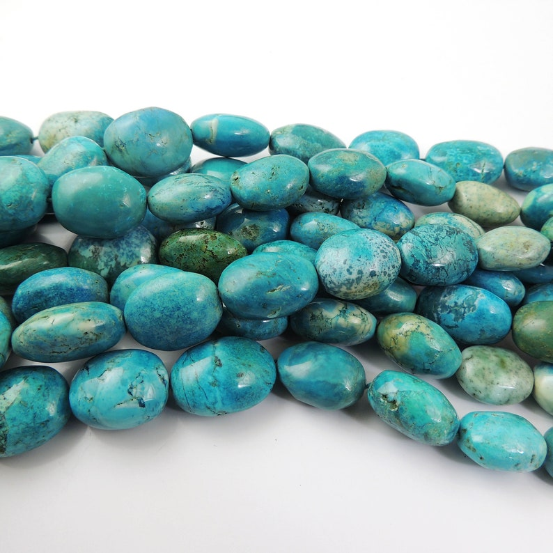 1 Strand Long Turquoise Smooth Oval Briolettes Turquoise Smooth Oval Beads 17mmx15mm-27mmx20mm 18 Inches long BR1749