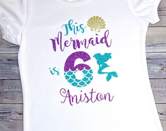 5th 6th Mermaid theme Mermaid Birthday shirt Under the Sea Personalized Applique Birthday shirt ONLY Available 1st 2nd 3rd,4th 7th