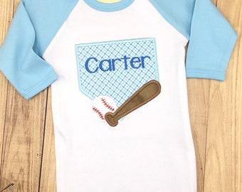 Baseball baby gown raglan custom name