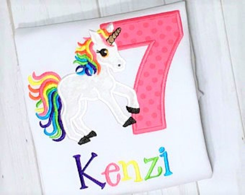Girls Unicorn 7th Birthday Shirt Available For Any Age