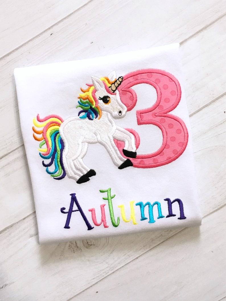 10 Off Girls Unicorn 3rd Birthday Shirt Embroidered And