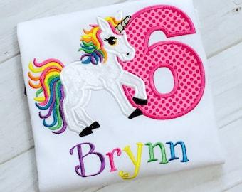 Unicorn Birthday Shirt, Embroidered unicorn 6th birthday shirt | Rainbow Unicorn Shirt | Unicorn Party Shirt | Any Age