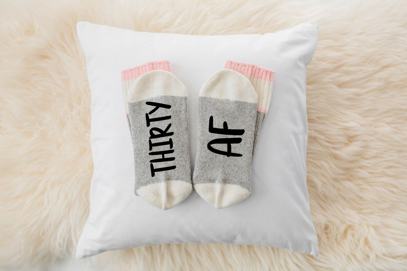 funny socks with sayings THIRTY AF 30th Birthday gift for women,men 30th birthday socks
