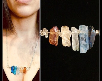 Multi-Color Genuine Stone Pendant Statement Necklace