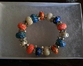 Orange, White, and Blue Bracelet