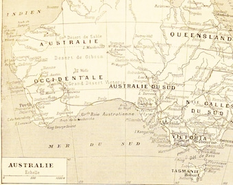 Map of Australia Lithograph - 1920s Larousse - French Litho Sheet - Printed in Paris, France - 100% Original