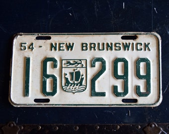 1954 New Brunswick License Plate - 16-299 - Vintage Automobile ID - Wall Hanging - Industrial Decor -  Canadian Provinces