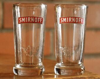 Smirnoff Vodka Shot Glasses - Set of 2 - Vintage Alcohol Collectibles - SMIRNOFF VODKA - Official Glasses - Barware