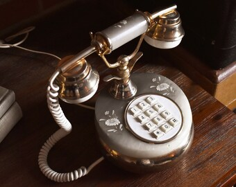 Sitel Alabaster Telephone - Italian Fancy Phone -  Floral Design - 100% Functional - Made in Italy