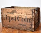 Vintage Pepsi-Cola Wooden Crate - Soft Drink Collectible - 1960s-1970s - Soda Crates - Antique Wood Boxes - quot Refreshing Satisfying quot