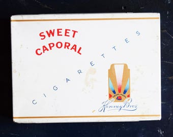 Sweet Caporal Cigarette Tin - Canadian Imperial Tobacco - Kinney Bros Trademark - Vintage Advertising - 1960s