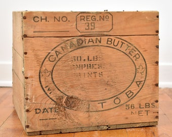 Antique Crate - CANADIAN BUTTER - Made in Manitoba, Canada - Wooden Crate - Old Wooden Box - circa 1950s