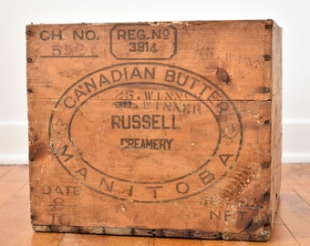 Antique Crate - CANADIAN BUTTER - Made in Manitoba, Canada - Russel Creamery - Wooden Crate - Old Wooden Box - circa 1950s