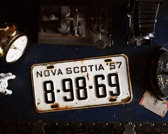 1957 Nova Scotia License Plate - 8-98-69 - Vintage Automobile ID - Wall Hanging - Industrial Decor -  Canadian Province
