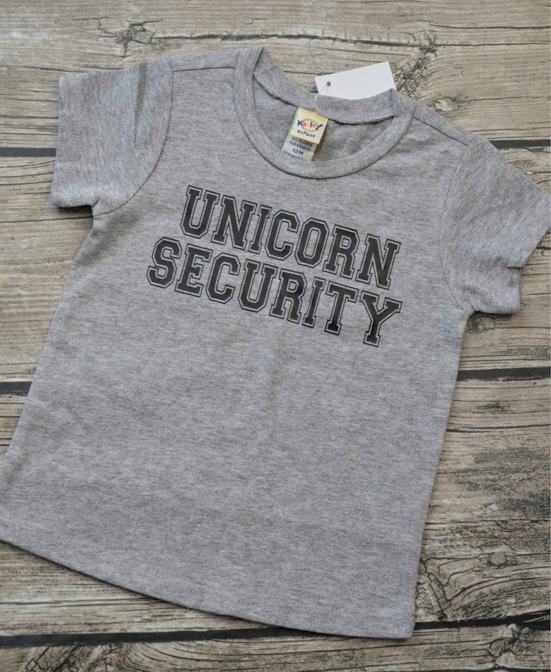 Unicorn Security  Infant Baby Vinyl Graphic Tee T-Shirt Unisex Boys or Girls Several Colors available Infant Sizes 6-24 months