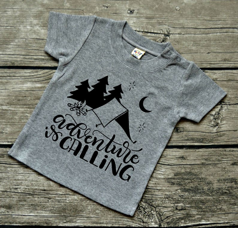 Adventure is Calling Baby boys or Baby Girls  Infants Camping Vinyl Graphic Tee Shirt Multiple Colors Sizes 6-24 months