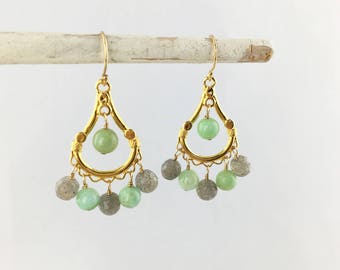Labradorite and Chrysoprase AAA Genuine Natural Faceted on 22k Gold Vermeil Chandelier Component Wire Wrapped Statement Earrings