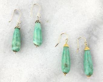 Green Opal AAA Genuine Faceted Elongated Teardrops with 925 Sterling Silver or 14k Gold Filled Wire Wrapped Earrings October Birthstone