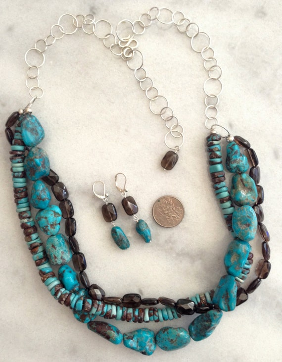 Turquoise (Chocolate) Genuine Natural AAA Nuggets/Discs & Smoky Quartz Rectangles 925 Sterling Silver Statement Necklace-December Birthstone