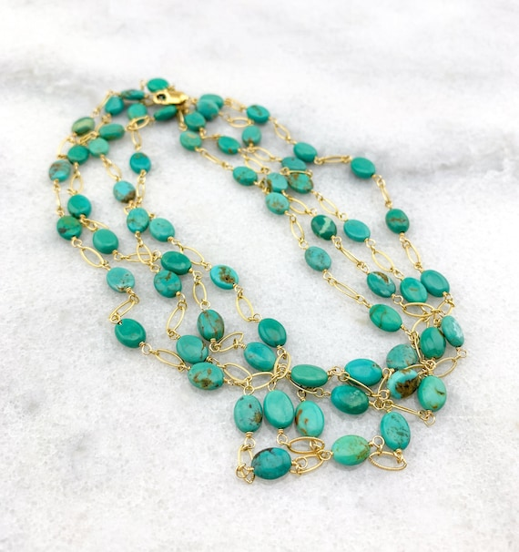 Kingman Turquoise AAA Natural Genuine Smooth Ovals Wrapped w/ Gold Filled Wire/Chain Statement Necklace/December Birthstone/11th Anniversary