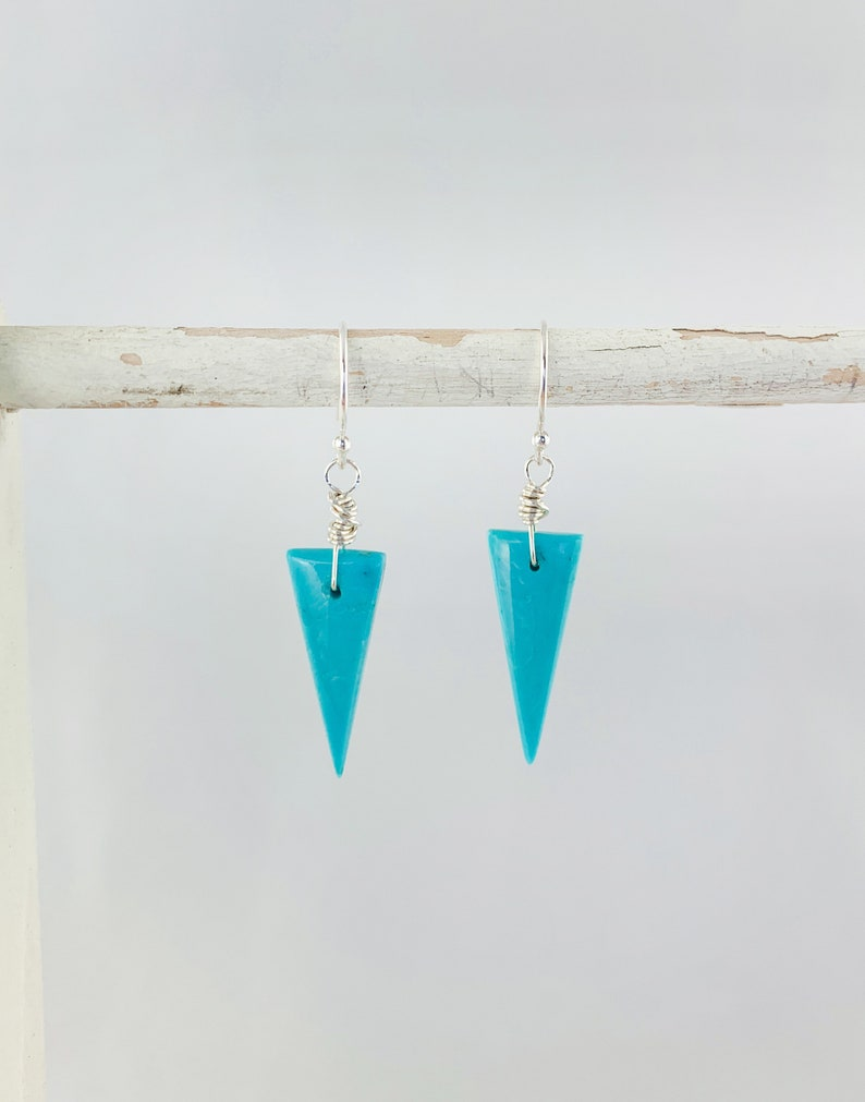 Arizona Blue Turquoise Natural Genuine AAA Inverted Triangles on 925 Sterling Silver Ear Wires Earrings December Birthstone