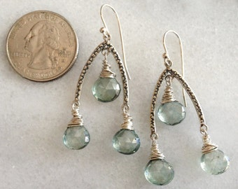 Mystic Green Quartz Faceted Genuine AAA Puffed Briolettes with Inverted-V 925 Sterling Silver Component Chandelier Earrings