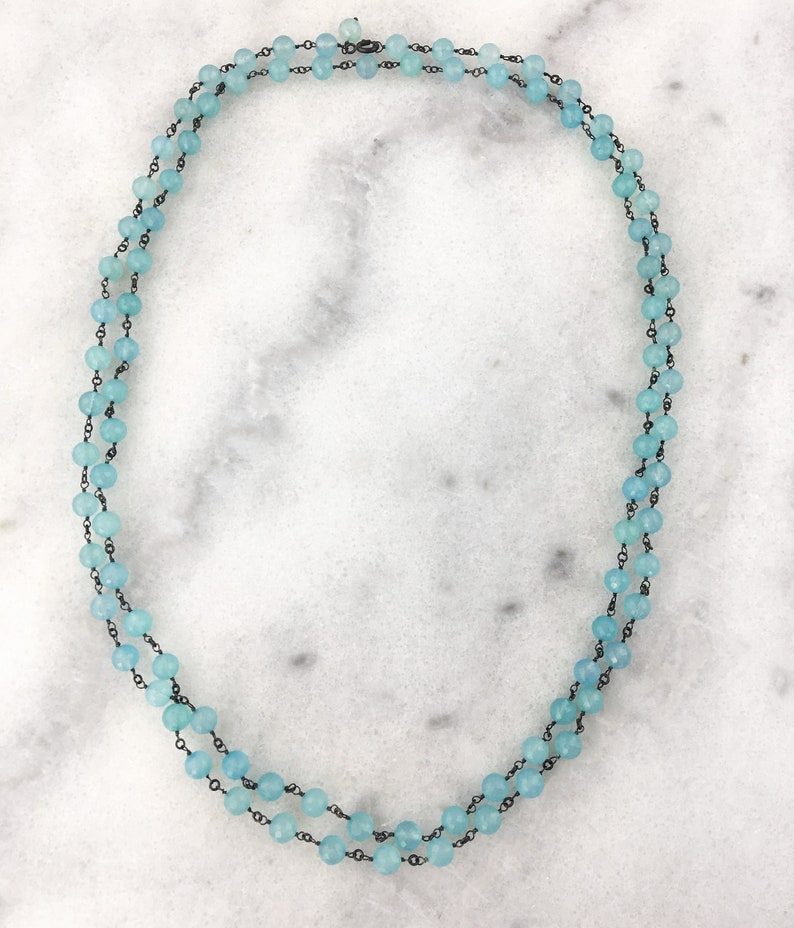 AAA Aqua Chalcedony Natural Genuine Faceted Rounds Wire Wrapped w Oxidized 925 Sterling Silver Wire Statement Necklace
