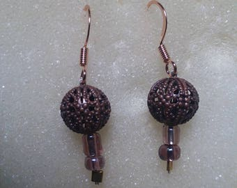 Handmade bronzed globe beaded with gold earrings
