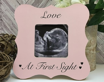 Pretty in pink Pregnancy Frame- New baby picture frame-New mom gift-love at first sight sonogram picture frame-ultrasound picture frame
