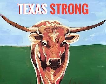 Texas Longhorn Digital Print by Genie Mack /Texas Strong