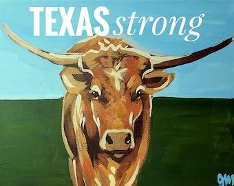 Texas Strong Horn Digital Print by Genie Mack /Texas Strong