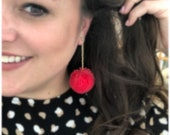 Genie Mack Collection: Furry Pom Drop Earrings