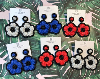 Genie Mack Collection: Beaded Daisy Statement Earrings