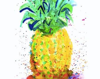 Pineapple Watercolor by Genie Mack - Digital Download