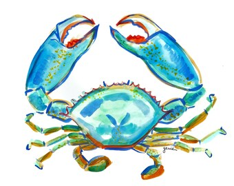 Watercolor Crab Print / Art by Genie Mack / Pinch Me!