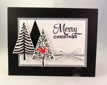 CHRISTMAS TREES in Black and Silver Handstamped Modern Christmas Greeting Card with Red Cardinal