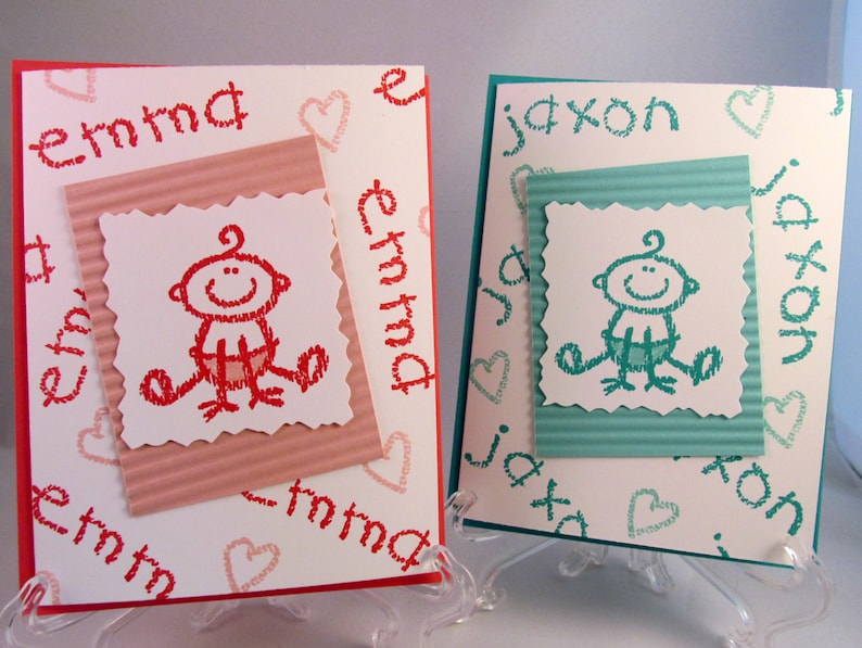 PERSONALIZED BABY CARD Hand Stamped Greeting Card for Baby Showers Baby Announcements Congratulation or Birthdays
