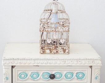 Vintage Chippy Pink and Blue Birdcage Lantern