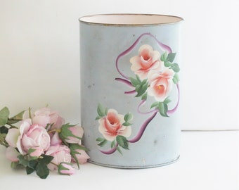 Beautiful Blue & Pink Vintage Tole Wastebasket with Original Made in New York Sticker on the Bottom