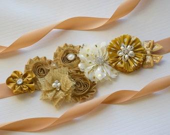 flower sash maternity sash flowersash  Belt Flower Sash,Gold  Sash,#2