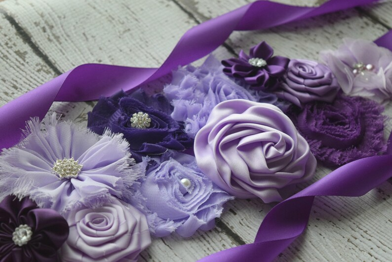 sash baby shower gift Shades of purple Sash Maternity sash belt flower Belt maternity sash #3