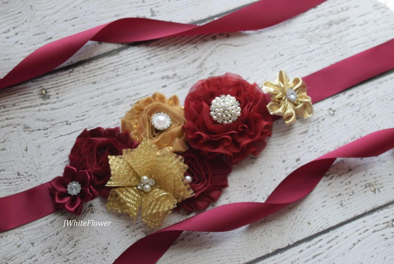 wedding sash maternity sash gold burgundy  Sash flower Belt Sash baby shower sash