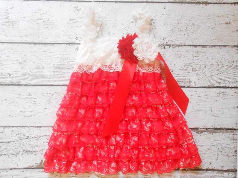 Ivory Lace dress Baby Lace Dress,Lace Dress White and Red Lace Dress,Lace Flower girl dress