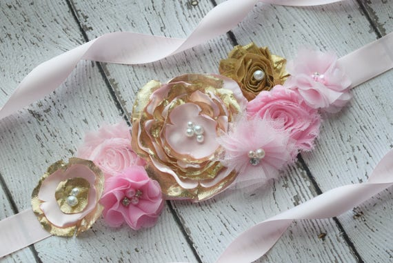 Flower Sash Pink Gold Sash 2 Flower Belt Maternity Sash Etsy