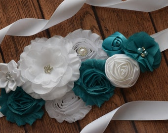Sash, White and Teal Sash , flower Belt, maternity sash