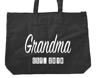 Grandma Est. (Any Year) Tote Bag - Grandma Tote Bag - Grandma Bag - Grandma To Be - New Grandma - Gifts For Grandma - Bags and Totes