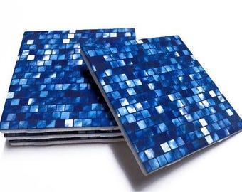 Blue Coasters - Drink Coasters - Blue Home Decor - Tile Coasters - Ceramic Coasters - Table Coasters On Sale