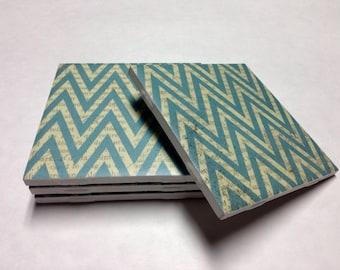 Blue Chevron Coasters - Chevron Decor - Drink Coasters - Tile Coasters - Ceramic Coasters - Table Coasters On Sale
