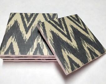 Gray Chevron Coasters - Grey Drink Coasters - Home Decor - Tile Coasters - Ceramic Coasters - Table Coasters On Sale